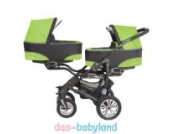BabyActive Twinni 3in1 Zwillingskinderwagen Geschwisterwagen Zwillingsbuggy 2x Babyschale - Nr.06 Greenapple