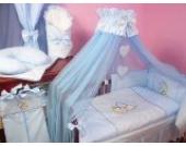 Lux4Kids Kinderbettausstattung Bett Set 135x100 Nestchen Wickelauflage Himmel & Stange Mobile Kopfkissen Spannbettlacken 12 Herz Blau