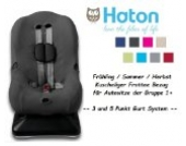 HATON -- FROTTEE Ersatzbezug -- Frühling / Sommer / Herbst -- 3 UND 5 Punkt Gurt System -- Universal Ersatz-Bezug für Autokindersitz Größe 1 z.B. für Maxi-Cosi Priori / SPS / XP, Römer King Plus / TS / Duo etc. -- ANTHRAZIT --