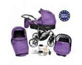 Allivio - 3 in 1 Reisesystem einschließlich Kinderwagen mit schwenkbaren Rädern, Kinderautositz, Buggy und Zubehör, Veilchenblau und Schwarz