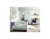Komplett Kinderzimmer MILLA, 4-tlg. (Kinderbett, Kommode, Wickelaufsatz und 2-türiger Kleiderschrank), Weiß/Lila Hochglanz Gr. 70 x 140