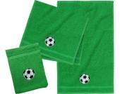 Frottierset, 2 Handtücher & 1 Waschlappen, Fußball, grün