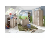 Komplett Kinderzimmer BAMBI, 5-tlg. (Kinderbett, Wickelkommode, Kleiderschrank 3-trg., Unterschrank, Wandregal), Eiche sägerau/weiß Gr. 70 x 140