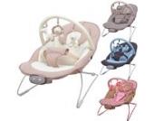 Babywippe Babytrage Schaukel Babyschaukel Schaukelsitz Babywiege mit Spielbogen und 3-stufiger Vibrationsfunktion & 12 Melodien in vier verschiedenen Farben (Hellbraun)