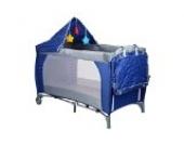 Kinderreisebett Kinderbett mit Moskitonetz Schlupfloch Wickelauflage Plüsch-Sternen Babybetteinlage Matratze Farbvarianten (Dunkelblau)