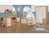 Komplett Kinderzimmer LOUISA, 3-tlg. (Kinderbett, Wickelkommode breit und 3-türiger Kleiderschrank), Weiß/Eiche Gr. 70 x 140