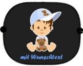 Autosonnenschutz mit Baby-Kindermotiv (216) und Wunschtext zur Auswahl