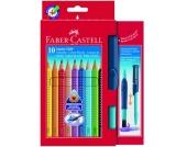JUMBO GRIP Buntstifte wasservermalbar, 10 Farben & CLIC & GO Pinsel