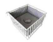 Baby Laufgitter Kinder Krabbelgitter Laufstall höhenverstellbar 100x100 cm + Einlage (weiß/grau)