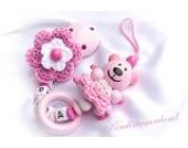 Baby Schnullerkette für Mädchen mit Teddy und Wunschnamen - Kinder - Geschenk zur Geburt, Taufe - Länge: max. 22cm (ohne Clip) - (pink, rosa, weiß)