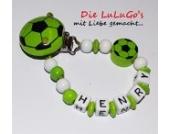 Schnullerkette mit Namen - Fußball in grün weiß für Fußballfans Junge Mädchen