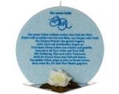 Taufkerze aus Palmöl mit Taufspruch blau Premiumkerze-M-330DD inkl. gratis Beschriftung + gratis Herzkerze als Geschenk