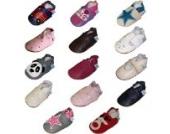 Dotty Fish weiche Lederschuhe für Babys und Kleinkinder - Erste Laufschuhe und Krabbelschuhe für Mädchen - grau und rose Stern - 6-12 Monate