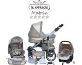 Chilly Kids Matrix II Kinderwagen Ganzjahres-Set (Winterfußsack, Sonnenschirm, Autositz & Adapter, Regenschutz, Moskitonetz, Schwenkräder)