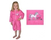 Bademantel mit Namen Pferd pink Größe 86/92