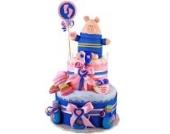 Windeltorte / Pamperstorte > Babygeschenk für Jungen in schönem Rosa-Blauton // Geschenk zur Geburt, Taufe, Babyparty // originelles und praktisches Geschenk für Babys
