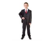 Nr: 403 Eleganter Anzug zur Kommunion Konfirmation Hochzeit 5-tlg. schwarz/gestreift 4-14 Jahre