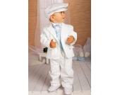 SWEET MOMENT`s Nr.201 EDLER Taufanzug Smoking Set 6-teilig WEIS-BLEU Gr��e: 62-104