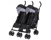 Knorr-Baby Side by Side Zwillings- und Kinderwagen Geschwisterwagen schwarz