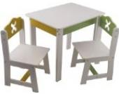 Bieco 4939200 - Tisch mit 2 Stühlen, weiß