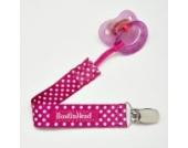 Booginhead PaciGrip Baby Schnullerkette - pink gepunktet - OHNE Schnuller