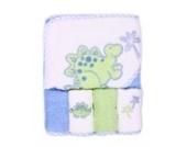 Spasilk 100% Baumwolle Kapuzen-Frottee-Badetuch mit 4 Waschlappen-Dinosaurier blau/grün