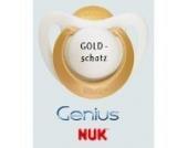 Nuk Genius Schnuller mit Namen 2 Stück - Latex - gold - Gr 1 - Jeder Schnuller eine andere Gravur!
