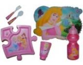 Unbekannt 6 tlg. Set Disney Prinzessin Teller + Trinkglas + Trinkflasche + Gabel / Löffel