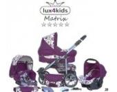Chilly Kids Matrix II Kinderwagen Komplettset (Autositz & Adapter, Regenschutz, Moskitonetz, Schwenkräder) 28 Pink & Kreise