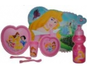 Unbekannt 7 tlg. Set Disney Prinzessin Teller + Müslischale + Trinkflasche + Trinkglas +