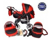 Sportive X2-3 in 1 Reisesystem einschließlich Kinderwagen mit schwenkbaren Rädern, Kinderautositz, Buggy und Zubehör (3 in 1 Reisesystem, Schwarz, Rot)