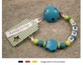Baby SCHNULLERKETTE mit NAMEN | Schnullerhalter mit Wunschnamen - Mädchen & Jungen Motiv Eule in verschiendene Farben (türkis)