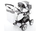 Chilly Kids iCaddy Kombikinderwagen (Regenschutz, Moskitonetz, Getränketablett, Wickelunterlage) 38 Weiß & Snow Leopard