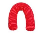 Sugarapple Stillkissen Seitenschläferkissen mit Mikroperlen Füllung, Kissen Bezug 100% Baumwolle, ideal als Lagerungskissen oder Schwangerschaftskissen, 190 x 38 cm, rot mit weißen Sternen