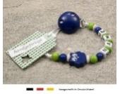 Baby SCHNULLERKETTE mit NAMEN | Schnullerhalter mit Wunschnamen - Mädchen & Jungen Motiv Eule in verschiendene Farben (dunkelblau)