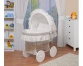 WALDIN Baby Stubenwagen-Set mit Ausstattung,XXL,Bollerwagen,komplett,6 Modelle wählbar,Gestell/Räder weiß lackiert,Stoffe weiß