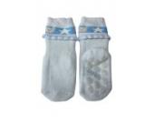 Weri Spezials Vol-Frotee Baby-ABS Soeckchen mit einer 3-D Ruesche in h.Blau, Gr.16-17 (6-9 Monate)