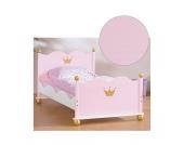 Jugendbett PRINZESSIN KAROLIN, Fichte massiv/Weiß-Rosa lasiert, 90 x 200 cm