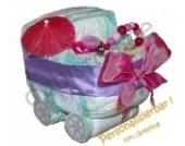 Pampers Windelwagen rosa - Windeltorte mit Namen Kinderwagen GIRL - Geschenk zur Geburt Mädchen - Einzigartige Windelwagen von dubistda