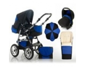 "17 teiliges Qualitäts-Kinderwagenset 5 in 1 ""FLASH"": Kinderwagen + Buggy + Autokindersitz + Schirm + Winterfussack – all inklusive Paket in Farbe SCHWARZ-ROYALBLAU"