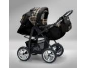 Akjax Piko 3in1 - Kombikinderwagen - Kinderwagen - Buggy - Babyschale - mit Sonnenschirm & chrom Rad Farbe Nr.03 schwarz / karo beige