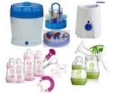 MAM Set 9 - Startset - Flaschen Sterilisator Babykoster Milchpumpe - Rosa + gratis Geschenk
